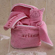 Personalized baby bath gifts gift sets personalized baby towels terry bath set in pink negle Choice Image