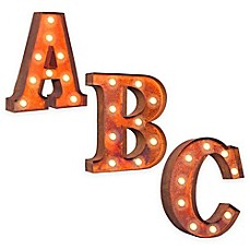 image of Vintage Retro Lights & Signs Metal Letter Light-Up Wall Art Collection