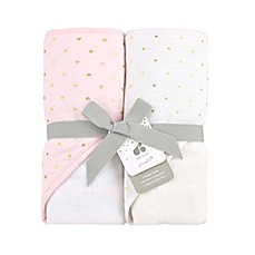 image of Just Born Sparkle Hooded Towel 2-Pack in Pink