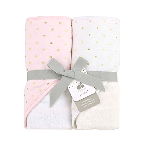 Just Born Sparkle Hooded Towel 2 Pack In Pink Bed Bath