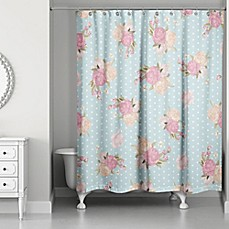 image of Designs Direct Floral Dot Shower Curtain in Blue/Pink