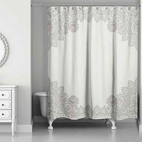Designs direct brown lace shower curtain bed bath beyond for Direct from the designers