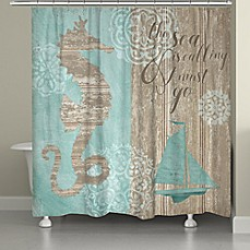 image of Laural Home Beach Boardwalk Shower Curtain in Blue/Brown