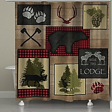 image of Laural Home Lumberjack Plaid Lodge Patch Shower Curtain