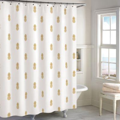 Destinations Golden Pineapple Shower Curtain ...
