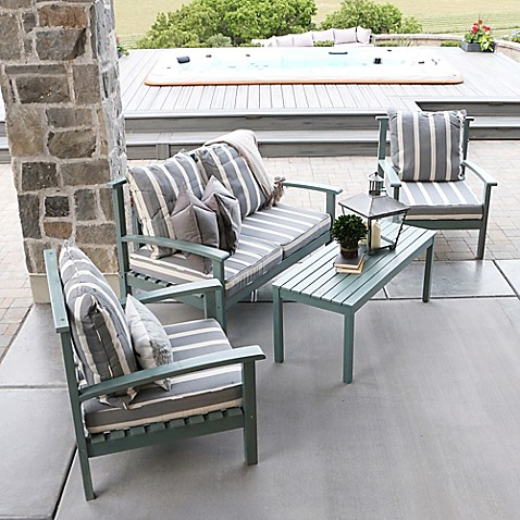 Angelo home 4 piece acacia outdoor conversation set with cushions in ocean grey bed bath beyond Angelo home patio furniture