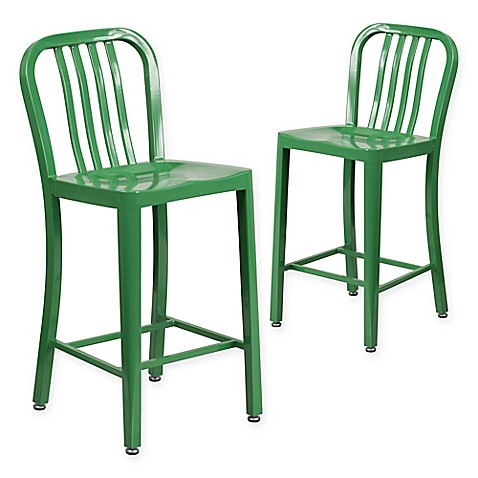 Flash Furniture 24 Inch Metal Stool With Back In Blue Set
