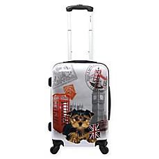image of Chariot 20-Inch UK Puppy Hardside Spinner Suitcase in Grey