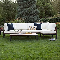 image of Walker Edison Modern 4-Piece Outdoor Patio Conversation Set