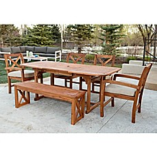 image of Walker Edison X-Back 6-Piece Dining Set with Cushions