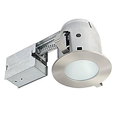 image of Globe Electric 4-Inch Ceiling-Mount Recessed LED Bathroom Lighting Kit in Brushed Nickel