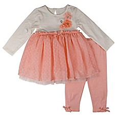 image of Nannette Baby® 2-Piece Lace Polka Dot Top and Legging Set in Peach/White