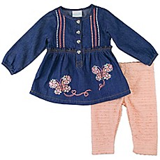 image of Nanette Baby® 2-Piece Denim Top and Legging Set in Chambray/Coral