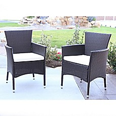 image of angelo:Home Baxtor Outdoor Patio Dining Chairs with Cushions (Set of 2)