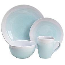 image of American Atelier Oasis 16-Piece Dinnerware Set in Mint/White