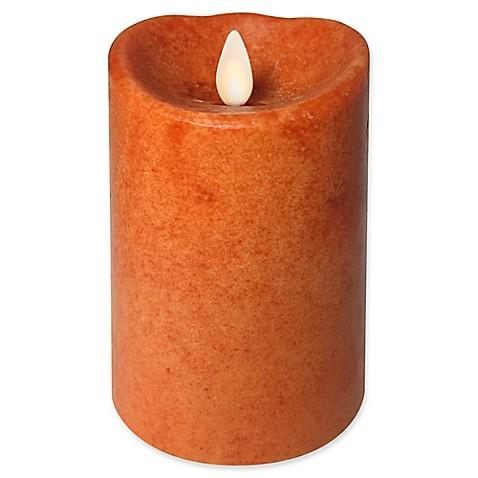 Luminara Real Flame Effect Pillar Candle In Pumpkin Orange