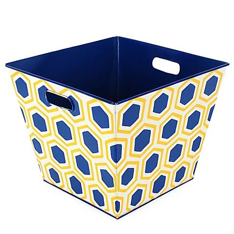 Buy jaye 39 s studio honeycomb storage bin in navy yellow for Navy bathroom bin