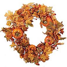 Faux floral arrangements silk flowers faux plants bed bath beyond leaves amp pumpkins wreath mightylinksfo