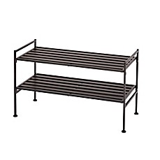 image of seville classics 2tier resin slatted shoe rack in espresso