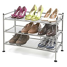 image of Seville Classics 3-Tier Mesh Utility Shoe Rack in Satin Pewter