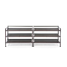 image of Seville Classics 3-Tier Resin Slatted Shoe Rack (Set of 2)