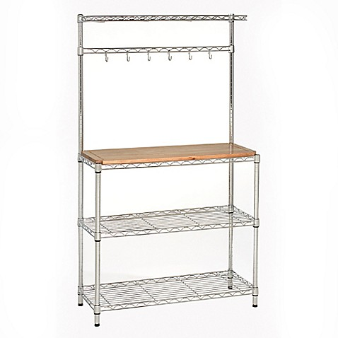 Image Of Seville Classics Bakers Rack Workstation With Rubberwood Top