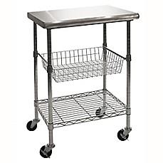 seville classics stainless steel kitchen work table cart - Kitchen Cart On Wheels