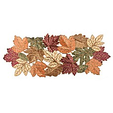 Image Of Beaded Leaf 36 Inch Table Runner In Red