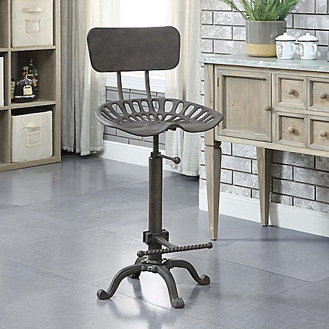 Carolina Cottage August Tractor Seat Stool With Back Rest