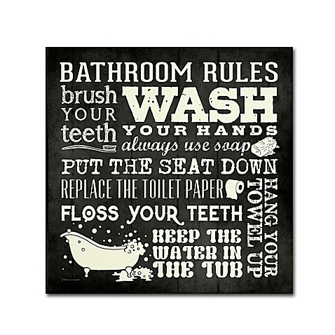 Stephanie Marrot 39 S Bathroom Rules Canvas Wall Art