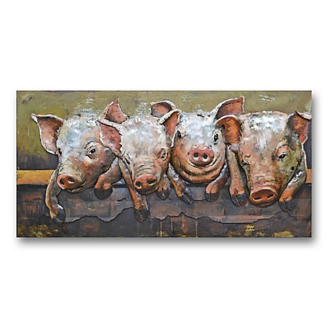 Pig Party 47 Inch X 24 Inch Metal Wall Art Bed Bath Amp Beyond