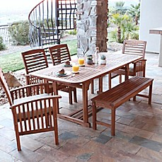 image of Forest Gate Eagleton Patio 6-Piece Acacia Wood Dining Set with Beige Cushions