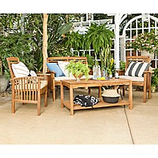 Forest Gate Eagleton Patio 4 Piece Acacia Wood Conversation Set With Beige Cushions