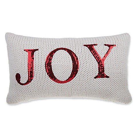 Joy Knit Oblong Throw Pillow in Ivory - Bed Bath & Beyond