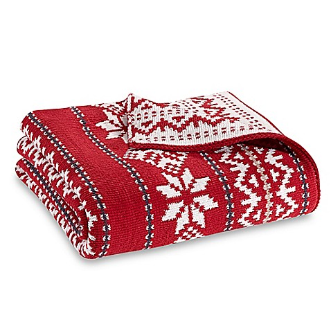 Fair Isle Knit Throw Blanket in Red - Bed Bath & Beyond