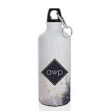image of 20.28 oz. Dream Modern Monogram  Water Bottle in Gold/Purple/White