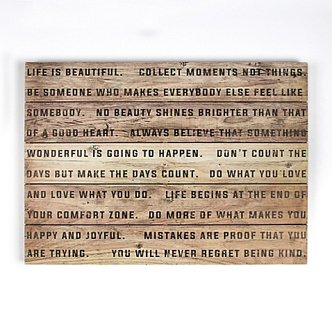 Life is Beautiful 28-Inch x 20-Inch Wood Wall Art - Bed Bath & Beyond