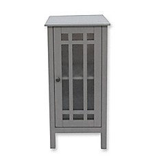 image of bathroom floor cabinet with glass door in grey