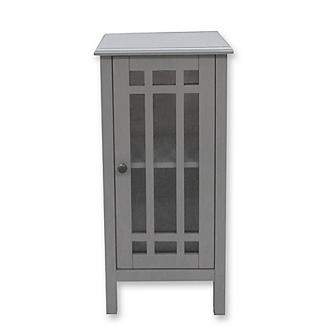 Bathroom Floor Cabinet With Glass Door In Grey Bed Bath Beyond