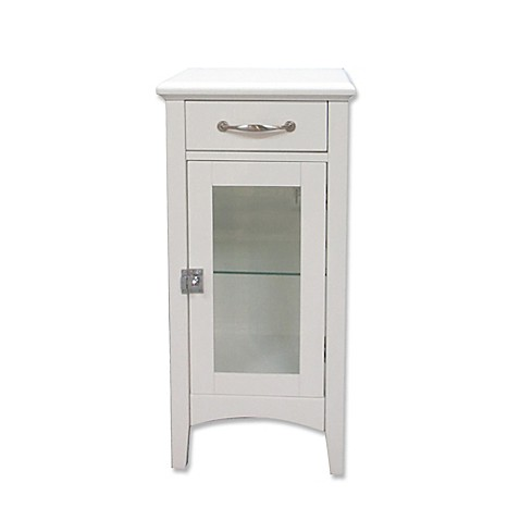1 drawer bathroom floor cabinet with glass door in white bed bath beyond for Bathroom floor cabinet with drawer