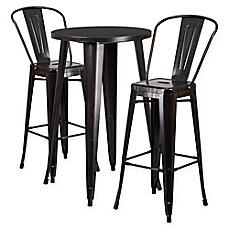 Wonderful Flash Furniture 3 Piece Round Metal Bar Table And Stools Set