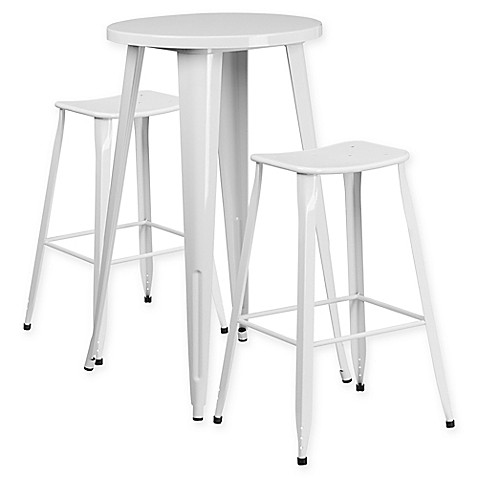 buy flash furniture 3 piece 24 inch round metal bar table and backless stools set in white from. Black Bedroom Furniture Sets. Home Design Ideas
