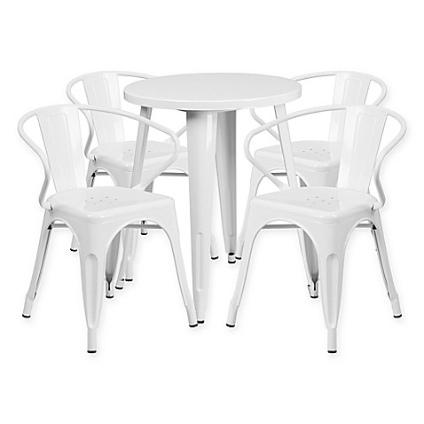 Flash Furniture 5 Piece 24 Inch Round Metal Table And