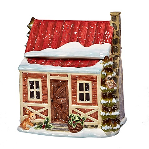 Certified international winter lodge 3 d cookie jar in for Winter cabin bedding