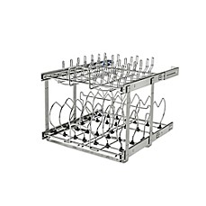 image of Rev-A-Shelf 5CW2-2122SC-CR Pull-Out 2-Tier Base Cookware Organizer w/Soft Close slides