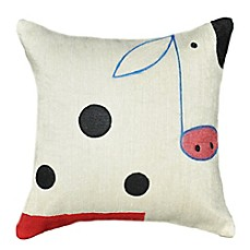 image of Amity Home Wool Cow Square Throw Pillow