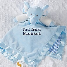 Personalized baby gifts personalized gifts for boys girls bed elephant baby blankie in blue negle Images