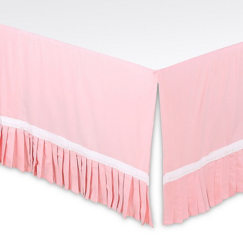 the peanut shell 174 pleated crib skirt in light coral