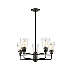 image of Nora 5-Light Ceiling Mount Chandelier in Bronze with Glass Shades