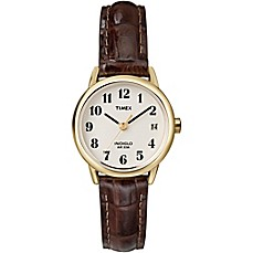 image of Timex® Easy Reader® Ladies' 25mm Watch in Goldtone Brass with Brown Crocodile Leather Strap